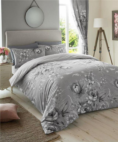 Grey duvet set flower bouquet bedding mono shades quilt cover & pillow cases