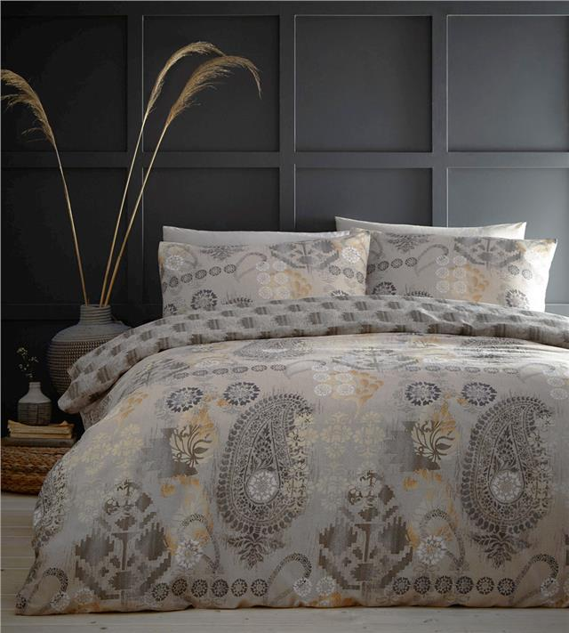 Ethnic paisley duvet set natural ochre charcoal quilt cover indian bedding