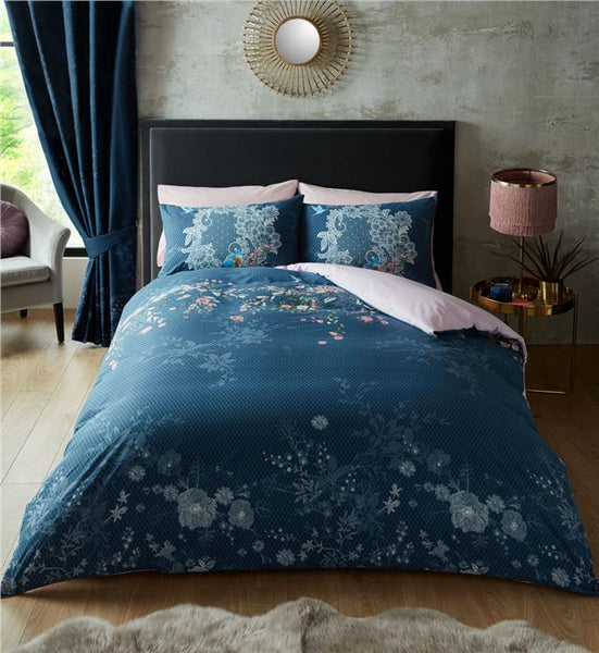 Duvet set navy blue love bird quilt cover & pillow cases bedding