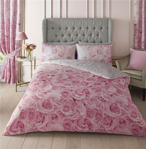 Pink duvet set flowers bedding pink roses quilt cover & pillow cases