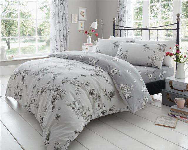 Grey duvet set blossom flowers birds & butterflies bedding quilt cover set