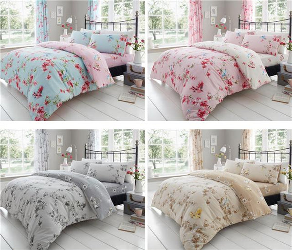 Duvet set blossom flowers birds natural beige & ochre bedding quilt cover set