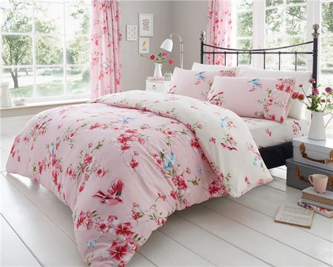 Pink bedding set blossom flowers blue birds duvet quilt cover & pillow cases
