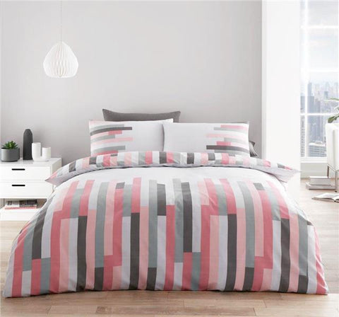 Duvet set grey & pink linear block stripe geometric bedding quilt cover