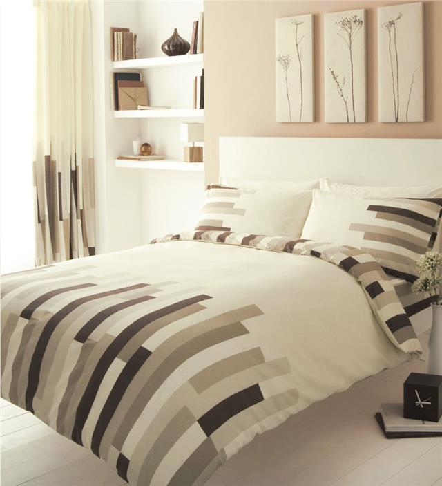 KING SIZE DUVET SET Cream & brown block striped quilt cover bed set
