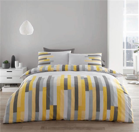 Duvet set grey & ochre yellow linear block stripe geometric bedding quilt cover