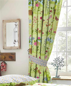 Curtains lined pair pencil pleat style green meadow flowers & hedgehogs