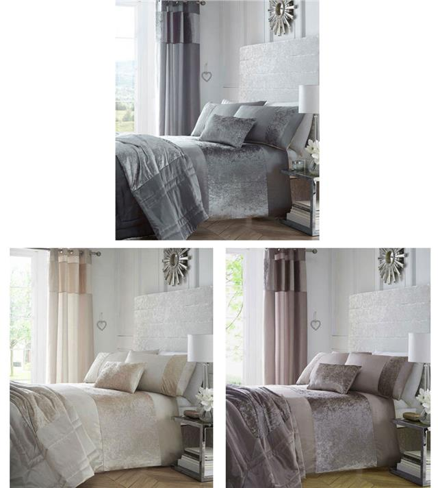 5ba0f40c9a120 Crushed velvet bedding in charcoal grey mink or oyster cream - curtains  optional