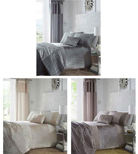 Crushed Velvet Curtains with Eyelets & Luxury Bedding (order separately)