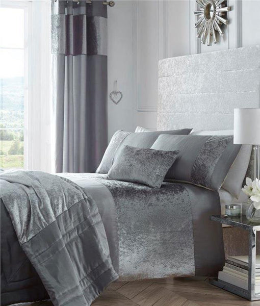 Crushed velvet bedding in charcoal grey mink or oyster cream - curtains optional