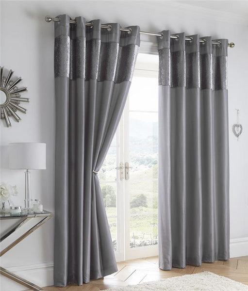 Crushed Velvet Curtains Luxury Faux Silk Lined Eyelet Curtains with Velvet panel