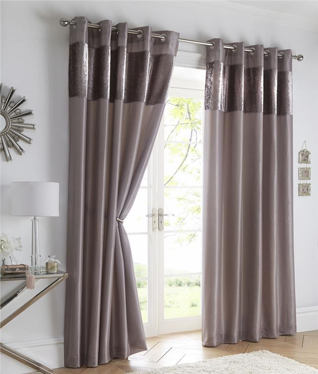 Crushed Velvet Curtains Luxury Faux Silk Lined Eyelet With Panel