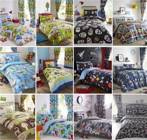 Boys Single Duvet Set Football Dinosaurs Space Trains Pirates Skulls Army & More