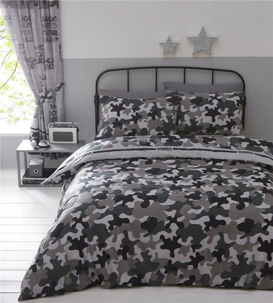 Camouflage duvet cover sets boys army military bedding & curtains available