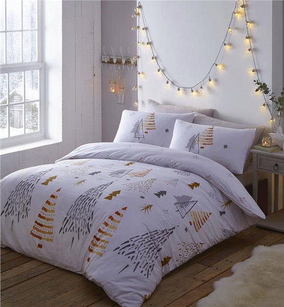 Christmas tree duvet set grey white & ochre xmas bedding quilt cover