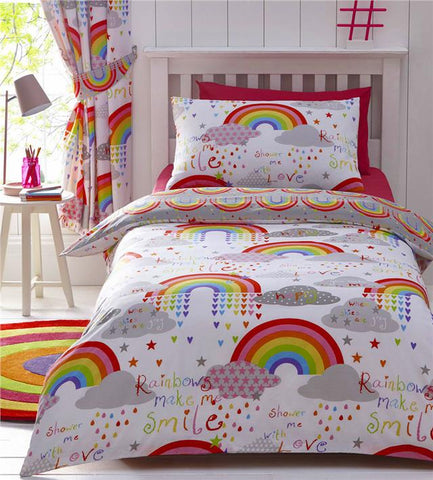 Girls duvet cover sets rainbows bright bedding & curtains available