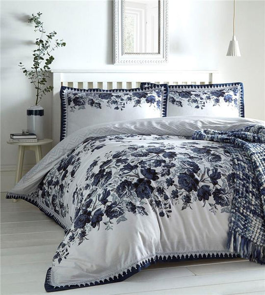 Duvet set blue roses flowers quilt cover oxford pillow cases white lace bedding