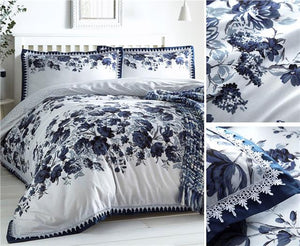 Duvet sets floral print luxury white lace navy blue grey quilt cover bedding