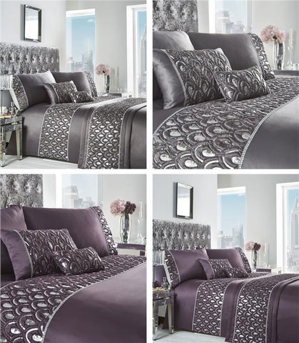 Luxury bed sets in grey charcoal or amethyst purple with silver sequin detail