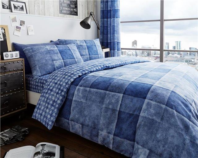 Blue denim patch print squares duvet set quilt cover & pillow cases bedding