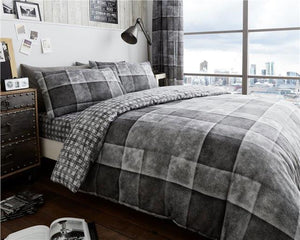 Grey duvet set check charcoal denim patch print squares quilt cover pillow case