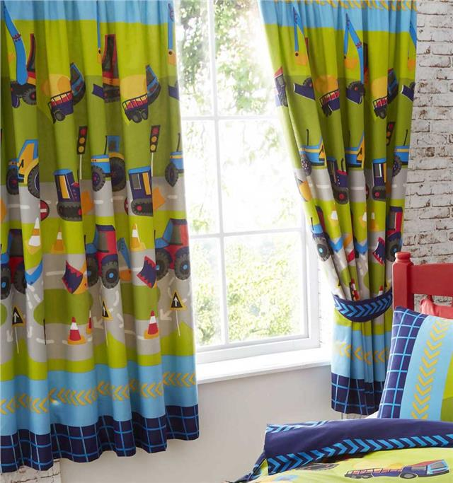 LINED CURTAINS - PAIR OF PENCIL PLEAT TAPE TOP CURTAINS Road Works Digger Trucks