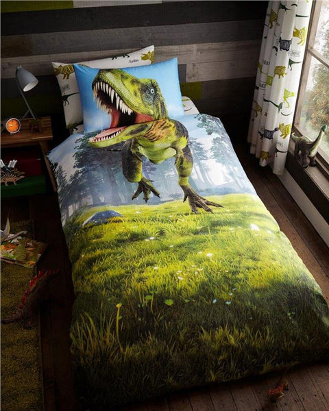 Dinosaur bedding Tyrannosaurus T Rex single duvet set quilt cover pillow case