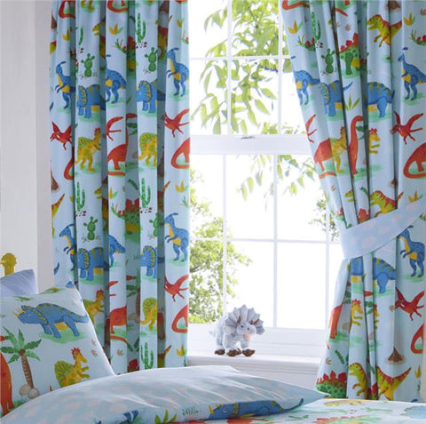 Dinosaur curtains boys blue pair of pencil pleat style bedroom curtains