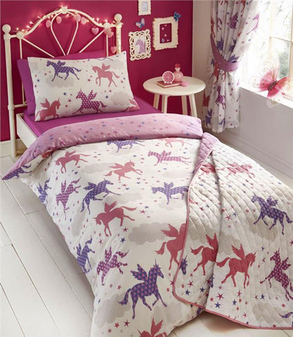 Unicorn Duvet Sets Girls Bedding - Girls Quilt Cover Unicorns & Stars Bed Sets