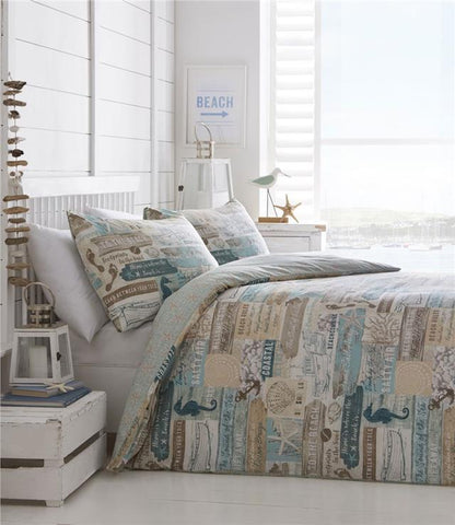 Seaside duvet cover set coastal drift wood sea shells beach hut signs bedding