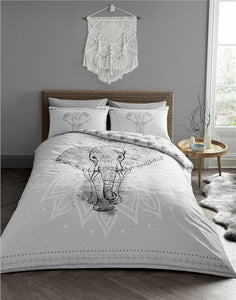 Elephant duvet set grey & white tribal bedding quilt cover & pillow cases
