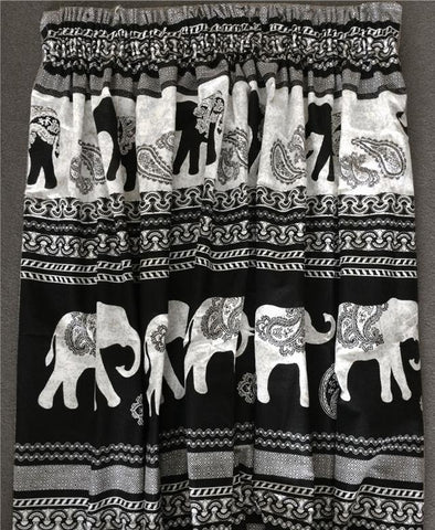 "CURTAINS 66 x 72"" PAIR OF PENCIL PLEAT TAPE TOP - BLACK ETHNIC INDIAN ELEPHANT"