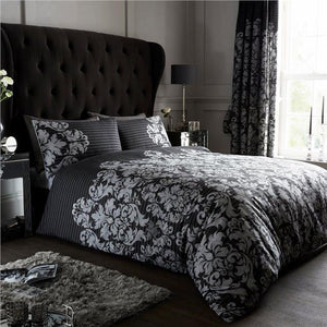 Duvet set empire stripe & damask print grey black quilt cover & pillow cases
