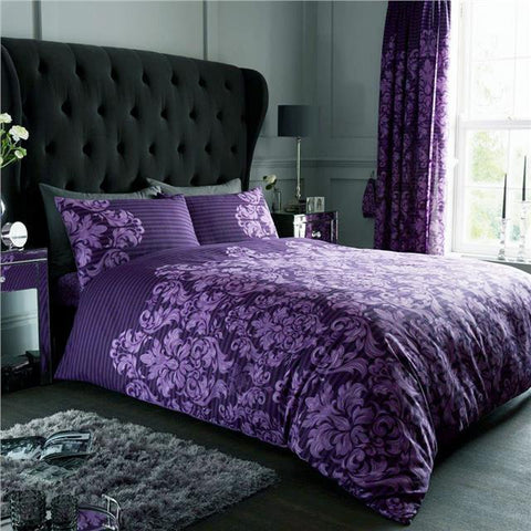 Duvet set empire stripe damask print purple aubergine quilt cover pillow cases