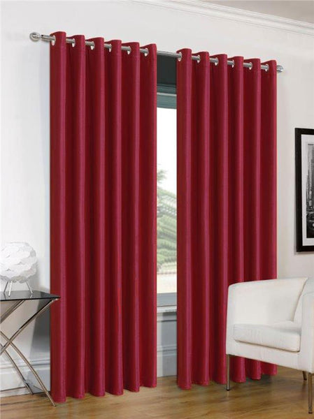 "Red curtains eyelet ring top faux silk 54"" or 72"" drop CLEARANCE"