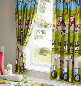 Childrens bedroom curtains farm animals red tractor pair of lined curtains