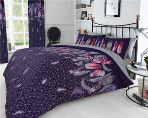 Duvet sets purple grey & pink dream catcher feathers quilt cover bedding