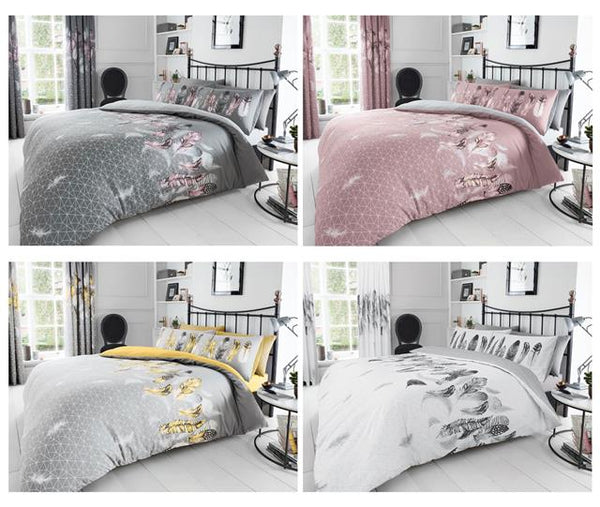 Duvet sets grey & pink dream catcher feathers quilt cover bedding