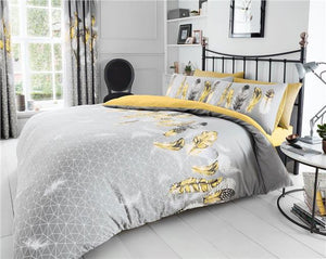 Duvet sets grey & ochre yellow dream catcher feathers quilt cover bedding