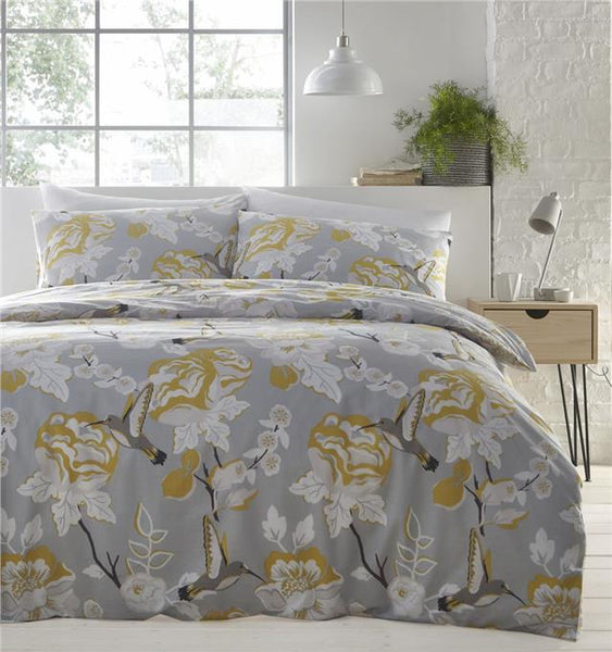 Duvet Set Grey Ochre Quilt Cover Pillow Cases Humming Bird Bedding Set