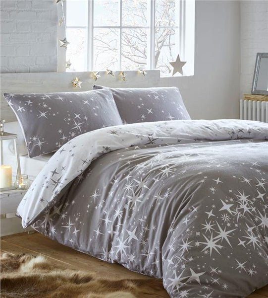 Brushed cotton duvet set galaxy stars flannelette quilt cover reversible bedding