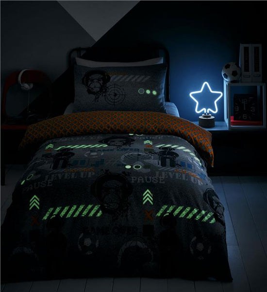 Duvet sets computer gamer bedroom glow in the dark bedding quilt cover bed sets