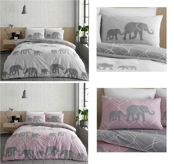 Grey Duvet Set Elephant Geometric Bedding Quilt Cover Bed Set