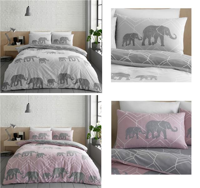 Duvet Set Elephant Print Bedding Grey or Pink Quilt Cover Pillow Cases Bed Set