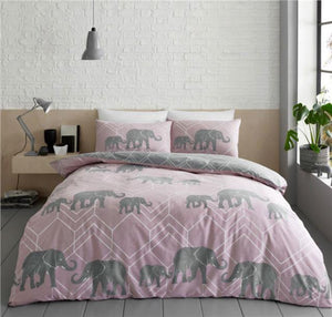 Pink Duvet Set Grey Elephant Geometric Bedding Blush Quilt Cover Bed Set