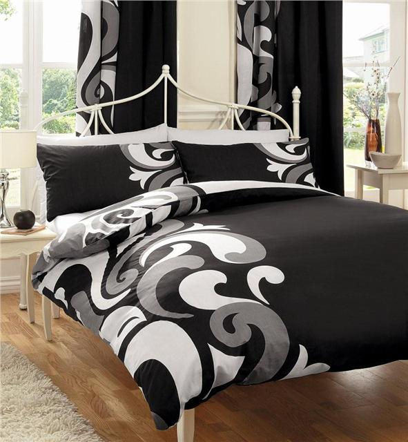 DOUBLE DUVET SET Black & grey quilt cover & pillow cases retro double bed set
