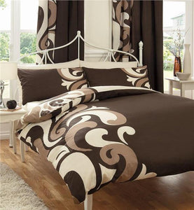 DOUBLE SIZE BED SET CHOCOLATE BROWN & CREAM PATTERNS DOUBLE QUILT COVER SET