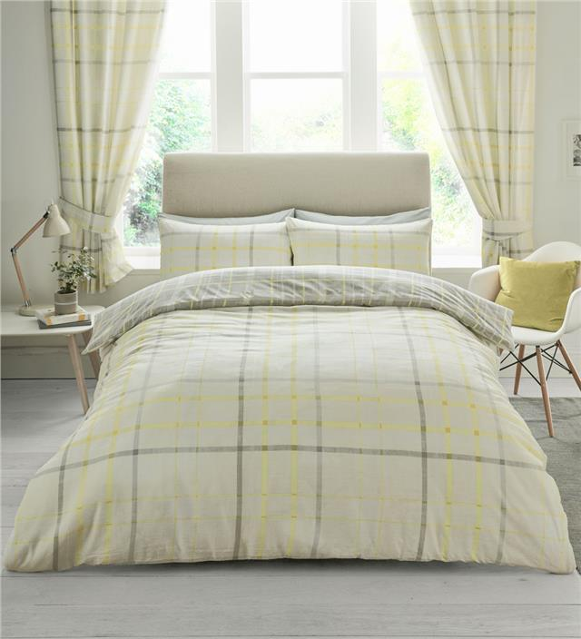 Check duvet sets grey taupe & yellow tartan quilt cover & pillow cases