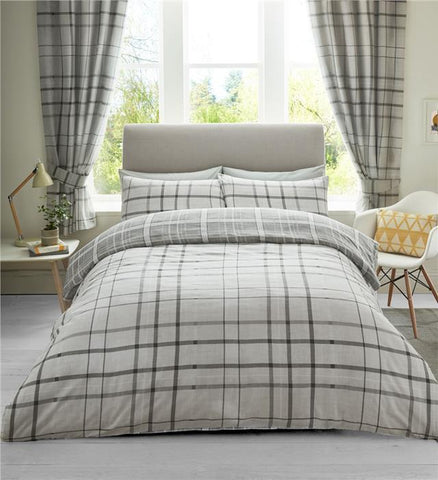 Duvet sets in tartan check contemporary quilt cover in shades of grey
