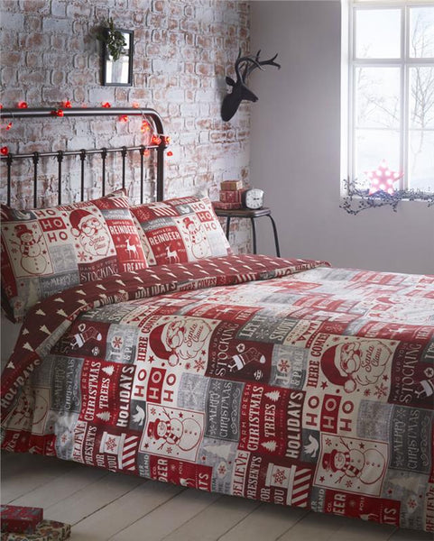 Christmas bedding vintage santa & snowman reversible xmas tree duvet cover sets